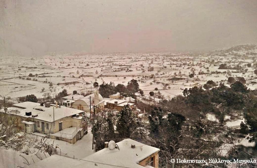 Χιόνι στο Μαγουλά και στον κάμπο- Snow in Magoula and the lasithi plain