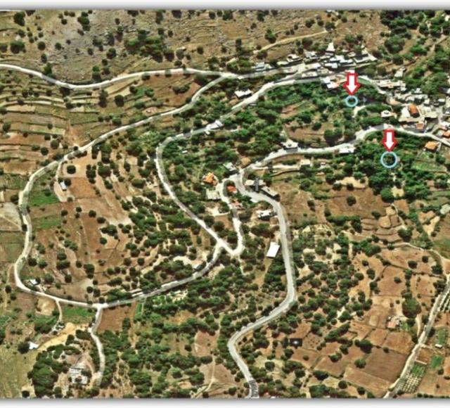 Τοποθεσία νερόμυλων στο χάρτη (μόνο ο δεύτερος νότια είναι προσβάσιμος)
