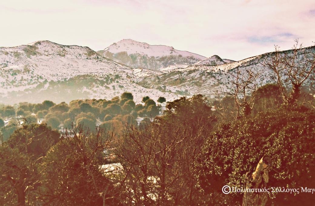 Η χιονισμένη Δίκτη από το Μαγουλά- Mount Dikti from Magoula